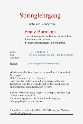 Springlehrgang mit Franz Bormann
